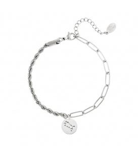 Zilverkleurige armband met sterrenbeeld tweeling