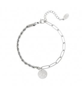 Zilverkleurige armband met sterrenbeeld leeuw