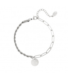 Zilverkleurige armband met sterrenbeeld weegschaal