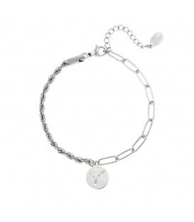 Zilverkleurige armband met sterrenbeeld vissen