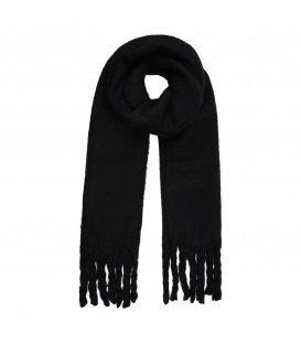 Leuke zwarte wintersjaal met gedraaide franjes