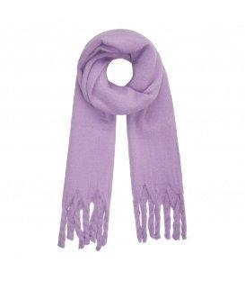 Leuke paarse wintersjaal met gedraaide franjes