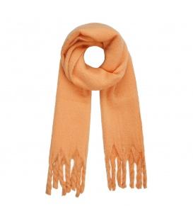 Leuke oranje wintersjaal met gedraaide franjes
