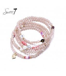 Roze 5 strengs kralen armband van glaskralen en schelpparel