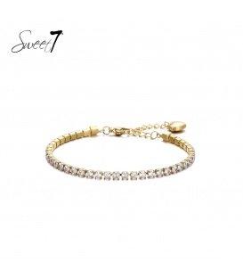 Goudkleurige armband met witte zirconia steentjes
