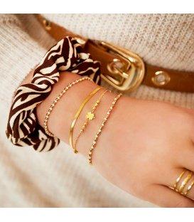 Zilverkleurige meerlaagse armband en bedel