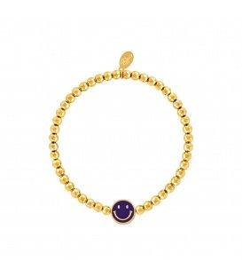 Goudkleurige armband met kralen en een paarse smiley