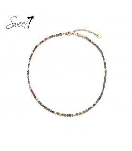 Gekleurde korte halsketting met zirconia steentjes