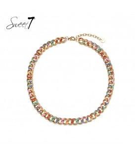 Goudkleurige halsketting van gekleurde schakels
