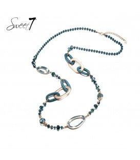 Petrol blauwe lange kralen halsketting