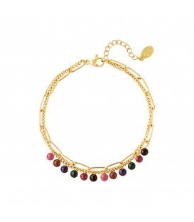 Goudkleurige dubbele armband met kleurrijke natuurstenen