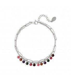 Zilverkleurige dubbele armband met kleurrijke natuurstenen