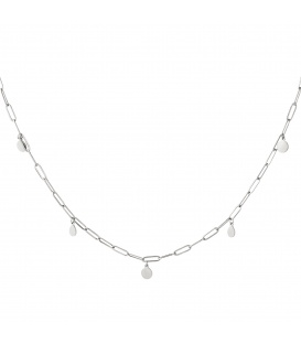 Zilverkleurige lange halsketting confetti