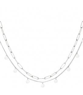 Zilverkleurige lange dubbele halsketting confetti