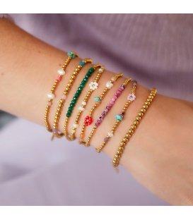 Goudkleurige armband met groene natuurstenen kralen