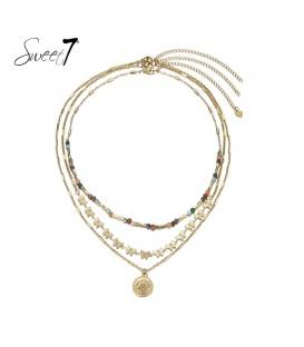 Gekleurde en goudkleurige laagjes halsketting