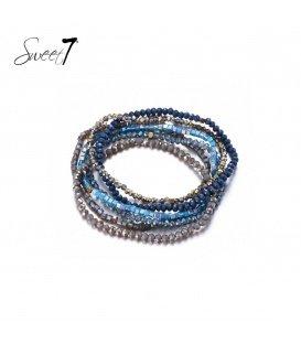 Blauwe meer strengs armband van glas kralen