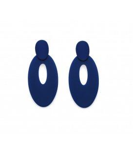 Blauwe langwerpige ovale oorstekersij.