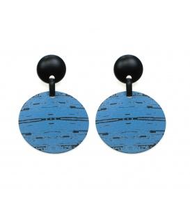 Blauwe oorhanger met zwarte accenten en zwarte oorsteker