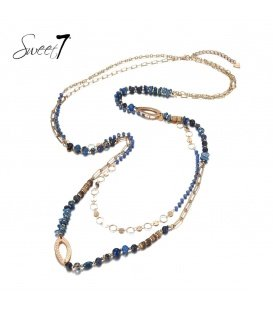 Blauwe meer strengs lange kralen halsketting
