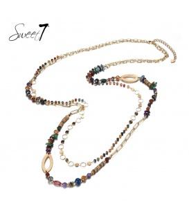 Gekleurde meer strengs lange kralen halsketting