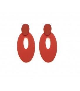 Oranje langwerpige ovale oorbellen met steker
