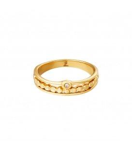 Goudkleurige ring met een rij van cirkels en een zirkoonsteentje (16)
