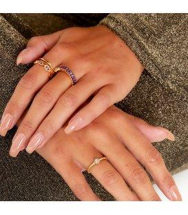 Zilverkleurige gedraaide ring met een zirkoon detail (16)