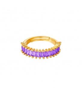 Goudkleurige vergulde ring met paarse edelstenen