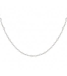 Zilverkleurige vergulde halsketting met echte pareltjes