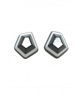 Mooie zwart, wit en zilverkleurige parelmoer oorsteker