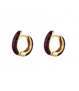 Goudkleurige ronde oorbellen versierd met donkerpaarse zirkoonsteentjes
