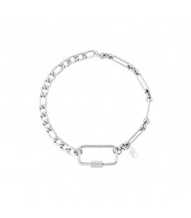 Zilverkleurige armband met verschillende schakels en rechthoekige sluiting
