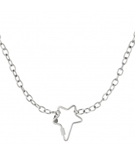 Zilverkleurige halsketting met grote stervormige sluiting
