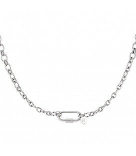 Zilverkleurige halsketting met rechthoekige sluiting