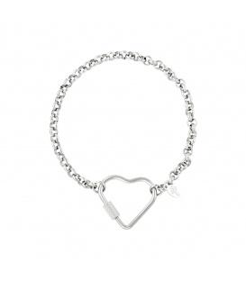Zilverkleurige armband met grote hartvormige sluiting