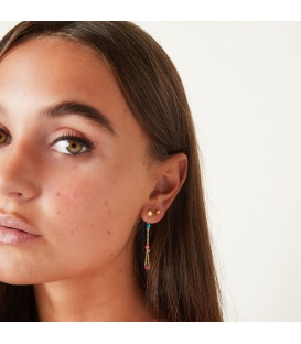 Zilverkleurige oorhangers met gekleurde bolletjes
