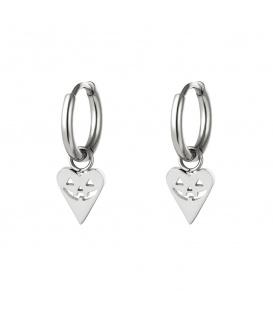 Zilverkleurige oorbellen in de vorm van een hart met een pompoen gezicht