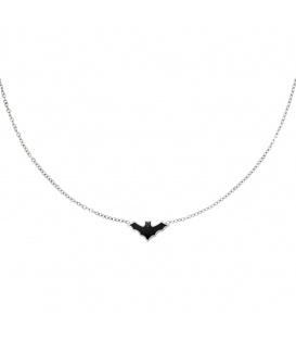 Zilverkleurige halsketting met een zwarte vleermuis