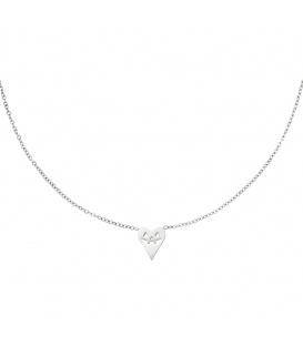 Zilverkleurige halsketting in de vorm van een hart met een pompoen gezicht
