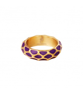 Goudkleurige ring met paars giraf patroon (18)