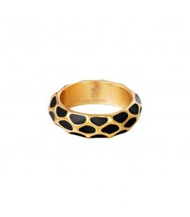 Goudkleurige ring met zwart giraf patroon (16)