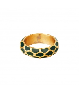 Goudkleurige ring met groen giraf patroon (17)