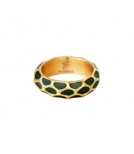 Goudkleurige ring met groen giraf patroon (18)
