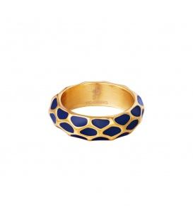 Goudkleurige ring met blauw giraf patroon (17)