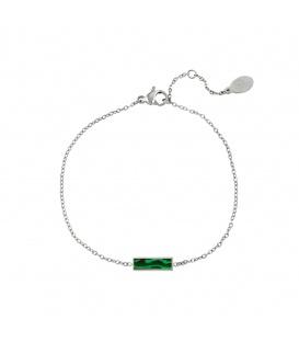 Zilverkleurige armband met een groene staaf