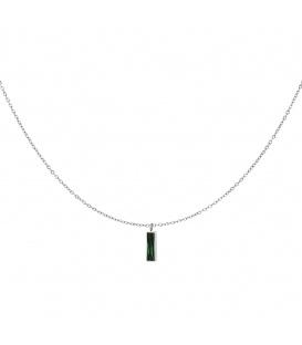 Zilverkleurige halsketting met een groene staaf