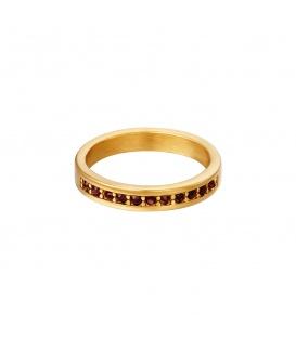 Goudkleurige ring met kleine robijnrode ronde zirkoonsteentjes (16)