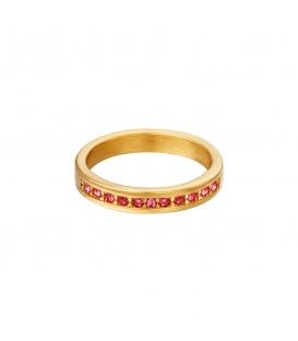 Goudkleurige ring met kleine rode ronde zirkoonsteentjes (16)