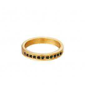 Goudkleurige ring met kleine groene ronde zirkoonsteentjes (16)